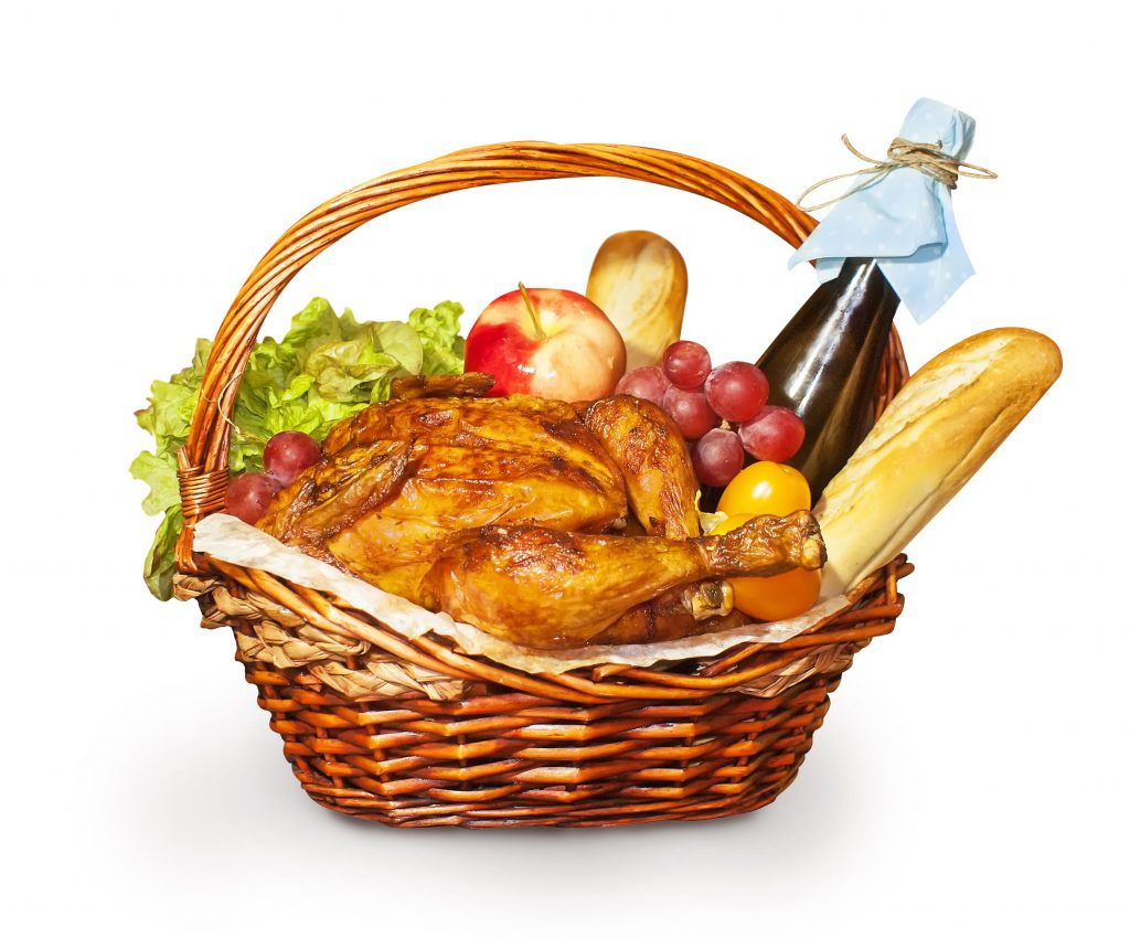 Basket filled with assorted goods